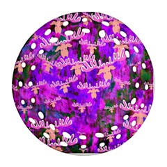 Watercolour Paint Dripping Ink Ornament (round Filigree)