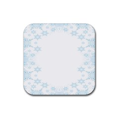 The Background Snow Snowflakes Rubber Square Coaster (4 Pack)