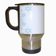 The Background Snow Snowflakes Travel Mugs (white)