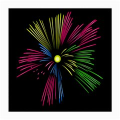 Fireworks Pink Red Yellow Green Black Sky Happy New Year Medium Glasses Cloth
