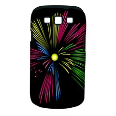 Fireworks Pink Red Yellow Green Black Sky Happy New Year Samsung Galaxy S Iii Classic Hardshell Case (pc+silicone)
