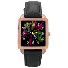 Fireworks Pink Red Yellow Green Black Sky Happy New Year Rose Gold Leather Watch
