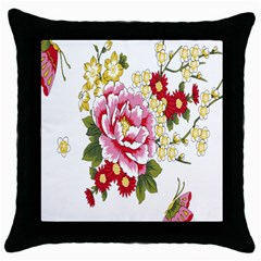 Butterfly Flowers Rose Throw Pillow Case (black)
