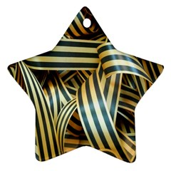 Ribbons Black Yellow Ornament (star)
