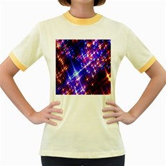 Star Light Space Planet Rainbow Sky Blue Red Purple Women s Fitted Ringer T Shirts