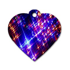 Star Light Space Planet Rainbow Sky Blue Red Purple Dog Tag Heart (one Side)
