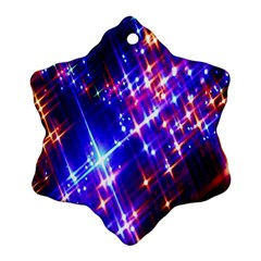 Star Light Space Planet Rainbow Sky Blue Red Purple Snowflake Ornament (two Sides)