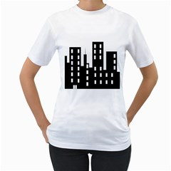 Tower City Town Building Black Women s T Shirt (white) (two Sided)