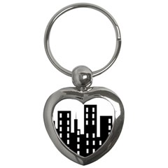 Tower City Town Building Black Key Chains (heart)