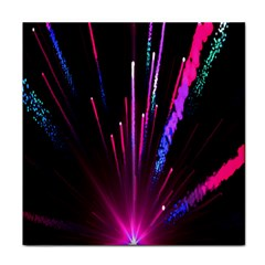 Happy New Year City Semmes Fireworks Rainbow Red Blue Purple Sky Tile Coasters