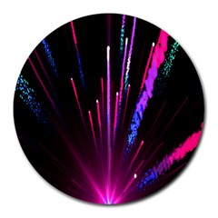 Happy New Year City Semmes Fireworks Rainbow Red Blue Purple Sky Round Mousepads