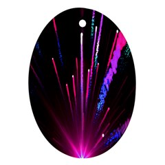 Happy New Year City Semmes Fireworks Rainbow Red Blue Purple Sky Ornament (oval)