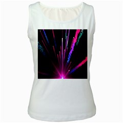Happy New Year City Semmes Fireworks Rainbow Red Blue Purple Sky Women s White Tank Top