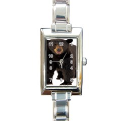 Brown Bears Animals Rectangle Italian Charm Watch