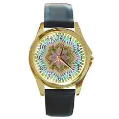 Star Flower Glass Sexy Chromatic Symmetric Round Gold Metal Watch