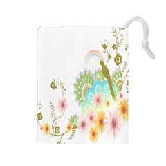 Wreaths Sexy Flower Star Leaf Rose Sunflower Bird Summer Drawstring Pouches (large)