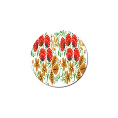 Flower Floral Red Yellow Leaf Green Sexy Summer Golf Ball Marker (4 Pack)