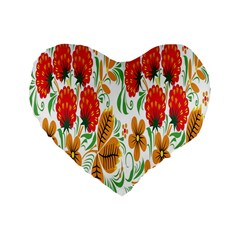 Flower Floral Red Yellow Leaf Green Sexy Summer Standard 16  Premium Heart Shape Cushions