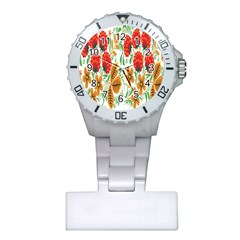 Flower Floral Red Yellow Leaf Green Sexy Summer Plastic Nurses Watch