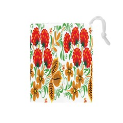 Flower Floral Red Yellow Leaf Green Sexy Summer Drawstring Pouches (medium)