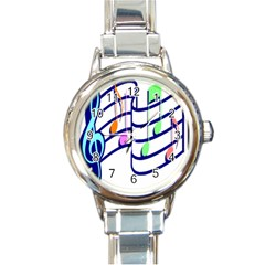 Music Note Tone Rainbow Blue Pink Greeen Sexy Round Italian Charm Watch