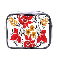 Flower Red Rose Star Floral Yellow Black Leaf Mini Toiletries Bags