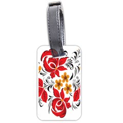 Flower Red Rose Star Floral Yellow Black Leaf Luggage Tags (two Sides)