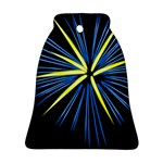 Fireworks Blue Green Black Happy New Year Ornament (Bell) Front