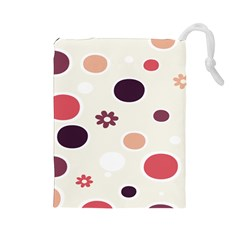 Polka Dots Flower Floral Rainbow Drawstring Pouches (large)
