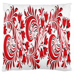 Red Flower Floral Leaf Large Flano Cushion Case (two Sides)