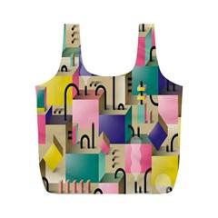 Magazine Balance Plaid Rainbow Full Print Recycle Bags (m)