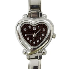 Brick2 Black Marble & Reddish Brown Leather (r) Heart Italian Charm Watch