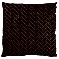 Brick2 Black Marble & Reddish Brown Leather (r) Standard Flano Cushion Case (two Sides)
