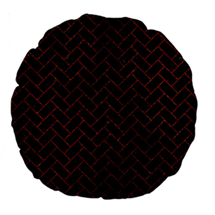 BRICK2 BLACK MARBLE & REDDISH-BROWN LEATHER (R) Large 18  Premium Flano Round Cushions