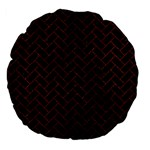 BRICK2 BLACK MARBLE & REDDISH-BROWN LEATHER (R) Large 18  Premium Flano Round Cushions Back