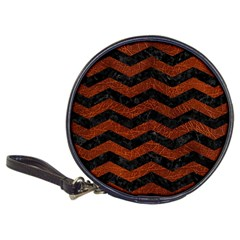 Chevron3 Black Marble & Reddish Brown Leather Classic 20 Cd Wallets