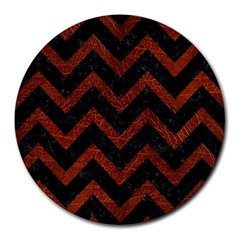 Chevron9 Black Marble & Reddish Brown Leather (r) Round Mousepads