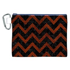 Chevron9 Black Marble & Reddish Brown Leather (r) Canvas Cosmetic Bag (xxl)