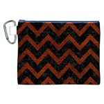 CHEVRON9 BLACK MARBLE & REDDISH-BROWN LEATHER (R) Canvas Cosmetic Bag (XXL) Front