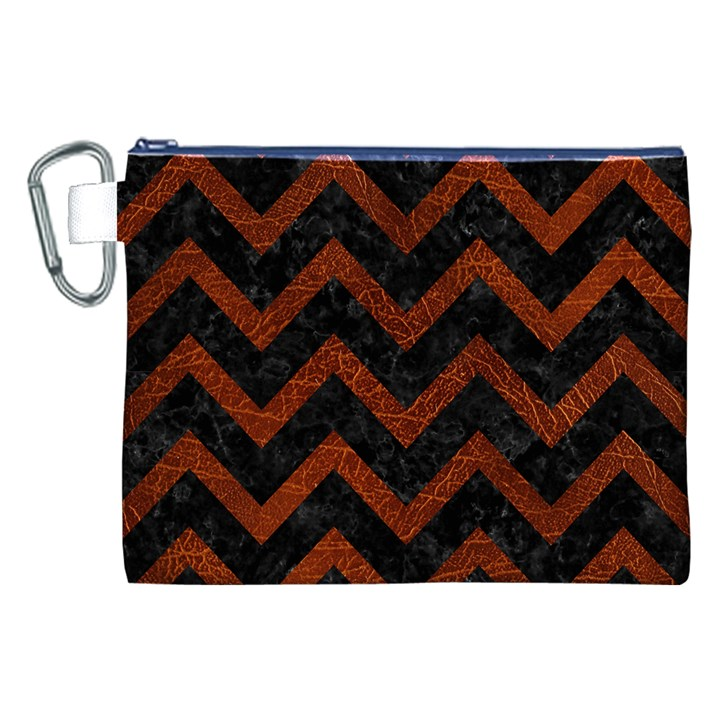 CHEVRON9 BLACK MARBLE & REDDISH-BROWN LEATHER (R) Canvas Cosmetic Bag (XXL)