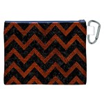 CHEVRON9 BLACK MARBLE & REDDISH-BROWN LEATHER (R) Canvas Cosmetic Bag (XXL) Back