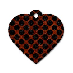 Circles2 Black Marble & Reddish Brown Leather Dog Tag Heart (one Side)