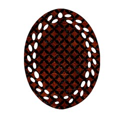 Circles3 Black Marble & Reddish Brown Leather Ornament (oval Filigree)