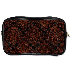 Damask1 Black Marble & Reddish Brown Leather (r) Toiletries Bags 2 Side