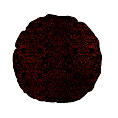 Damask2 Black Marble & Reddish Brown Leather (r) Standard 15  Premium Round Cushions