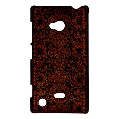 Damask2 Black Marble & Reddish Brown Leather (r) Nokia Lumia 720