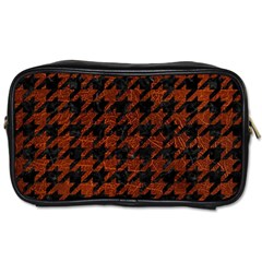 Houndstooth1 Black Marble & Reddish Brown Leather Toiletries Bags 2 Side