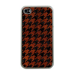 Houndstooth1 Black Marble & Reddish Brown Leather Apple Iphone 4 Case (clear)