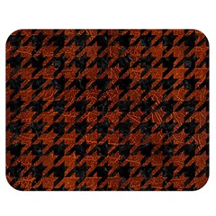Houndstooth1 Black Marble & Reddish Brown Leather Double Sided Flano Blanket (medium)