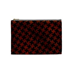 Houndstooth2 Black Marble & Reddish Brown Leather Cosmetic Bag (medium)